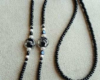 La Black and Silver Loop Eyeglass Chain Necklace Holder Lampwork Swarovski Elements