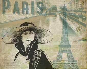 Paris - Wall Art 8 X 8 inches - Printable - Download, print and cut