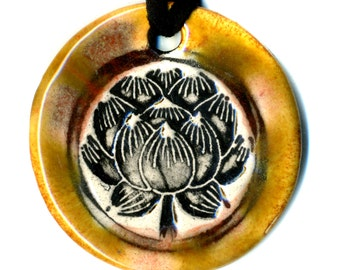 Lotus Flower Ceramic Necklace in Brown