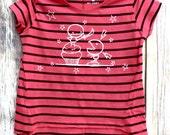 Cupcake Monster (3 to 4 yrs) pink and blue striped t-shirt stars sword battle fight treats short sleeve punk rock kids rocker skater top
