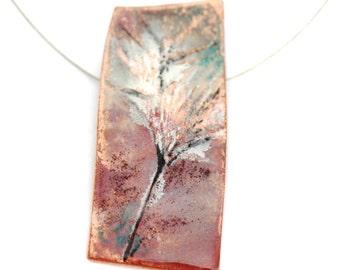 Hand Painted Enamel Pendant - Botanical design