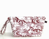 Wedge Bag, Small Project Size Knitting Bag, Imported Japanese fabric, Mount Fuji and waves, red and white