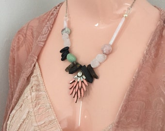 Cara Necklace Mixed Media Crystal and Stone Statement Necklace