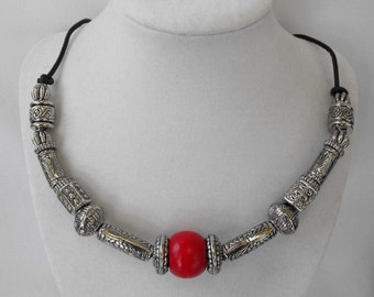 Necklace, Upcycled Vintage Beads, Silverplate with New Clasp NT-1442