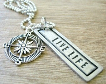Compass Necklace, Live Life, pewter bar, compass charm, alum ball chain, Inspiration Necklace, Motivational Necklace, Embrace Your Journey
