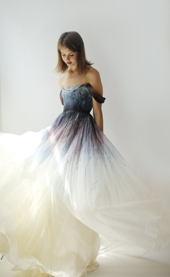 Sale hand painted and dyed silk organza gown for Silk organza wedding dress