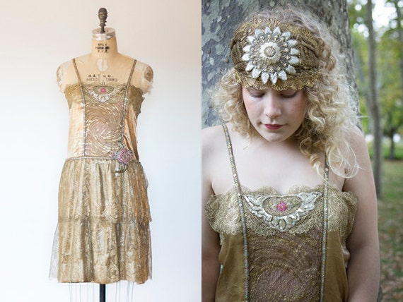 1920s Metallic lace lame dress Art Deco restored flapper party beaded sequins AB restored wearable