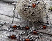 20% OFF TODAY - Amber Layering Necklace …. amber necklace sterling silver chain oxidized necklace