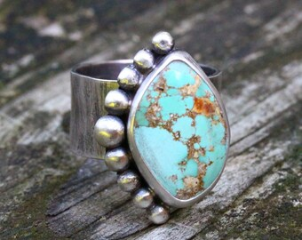 Kingman turquoise sterling silver statement ring