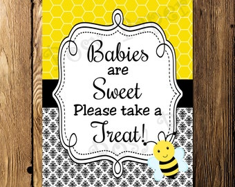 Printable Bee Baby Shower Treat Sign - Instant Download