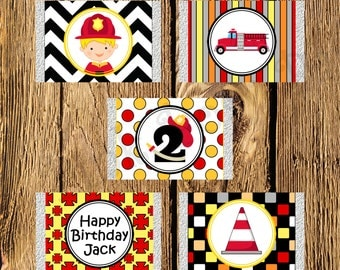 Printable Firefighter Birthday Mini Candy Bar Wrappers