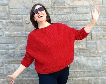 SaperliPOPette! Crochet pattern for a boxy sweater in any size any yarn
