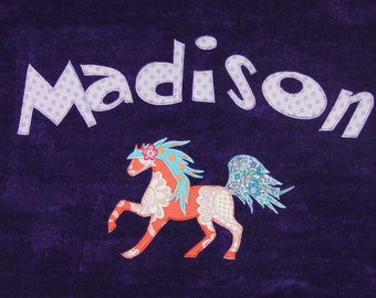 Personalized Large Purple Velour Beach Towel with a Beautiful Horse, Pool Towel, Personalized Kids Bath Towel, Baby Gift,Beach Towel
