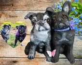 CUSTOM sculpture of YOUR two dogs and butterfly One of a Kind Original handsculpted by Sallys Bits of Clay