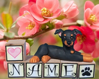Hand Sculpted Black and Tan Min Pin Minature Pinscher dog Natural Ears PERSONALIZED with your dog's name on blocks by Sally's Bits of Clay