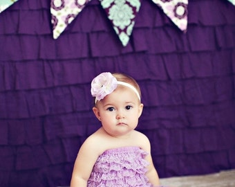 STOREWIDE 15% OFF Purple and Aqua Banner, Ready To Ship Photography Prop, 5 flags.