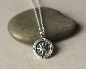 Silver Compass Necklace, Minimal Jewelry, Nautical Jewelry Necklace, Silver Circle Pendant, Graduation Gift, Sterling Silver Chain