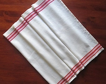 Vintage Kitchen Toweling Fabric, Pure Linen Fabric, Woven Red Stripe Linen Tea Towel Fabric