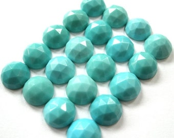 ON SALE Gemstone Cabochons Turquoise Rose Cut 8mm FOR Two