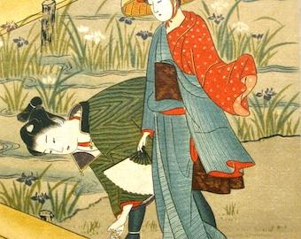 Vintage Japanese Print - Vintage Print - Magazine Insert - Woman and Iris Flower by Suzuki Harunobu 1725 – 1770 Ukiyo-e Woodblock Print