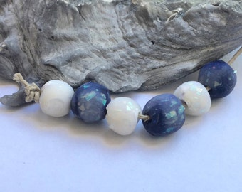 Handmade Polymer Clay Mini Glitter Rounds Bead Set