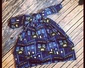 RockerByeBeanies Dr Who Tardis blue Newborn Baby knit skull cap hat beanie girl boy or unisex