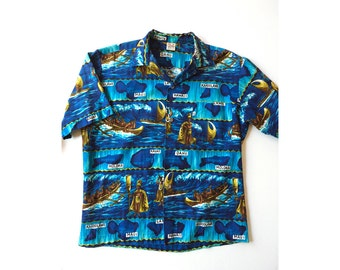 1960s Mens Cotton Hawaiian Shirt - Medium to Large