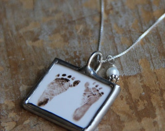 Mommy Birthstone Photo Necklace- Mother's Necklace-Baby Footprint Necklace-Footprint Jewelry-New Mom-Infant Loss-Memorial