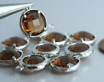 Promotion SALE 25% off Framed smoky glass drop charm, earring componenet, necklace pendant, 2 pcs (item ID G158N08SP)