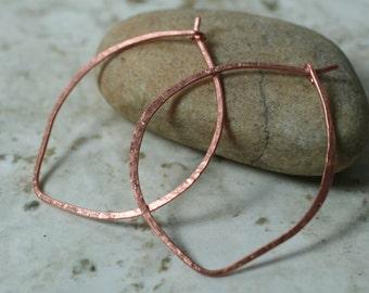 Handmade hammered large lotus leaf solid copper hoop 40x33mm, one pair (item ID LEC34G18)