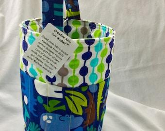 Creative Kids Art Bucket - 2D Zoo Animals in Dark Blue - Fabric Basket Organizer Easter Basket