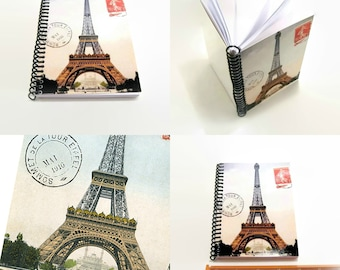Eiffel Tower Spiral Bound Travel Writing Journal, Blank Sketchbook, Back to School A6 Spiral Pocket Notebook 4x6 Inches, Cute Gifts Under 15