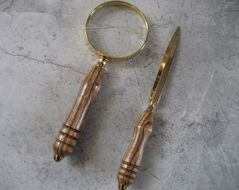 Magnifying Glass and Letter Opener Set (African Zebrawood)