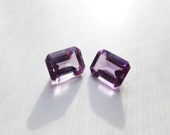Amethyst - Princess-Cut Gems, Pair, 4.15 cts - 7x9 (A102)