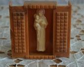 Vintage  religious statue open doors  Saint Joseph and Jesus statue