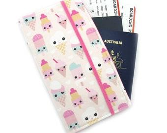 Travel Wallet - Passport Holder - Family Travel Wallet - Travel Organizer - Passport wallet - Travel Document Holder - Cute Ice Cream Faces