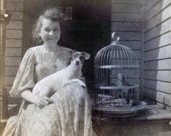 vintage photo 1910 A young lady & Her Pet Bird in Birdcage Terrier Puppy Dog