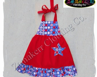 2T 24 month 3T 3 ONLY Clearance Boutique Clothing Fourth 4th of JULY Girl Halter Dress Summer Red White Blue Set Size 24 month 2 2T 3 3T