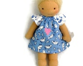 7 to 8 inch Waldorf Doll Dress, Blue and White Geese and Floral doll dress, toy clothing, tiny doll dress