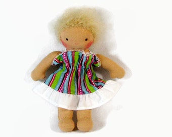 8 inch Waldorf doll's dress in pastel stripes with white ruffle, doll clothing, sale doll dress