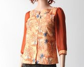 Orange floral shirt, Salmon orange shirt with blue pattern and 3/4 length sleeves in orange voile, vintage cotton sz UK 8
