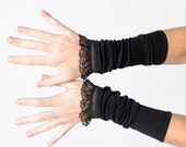 Black cuffs with lace, Black lace cuffs, Jersey arm cuffs, Black armwarmers, Gift for her, Victorian gloves, Steampunk cuffs, MALAM