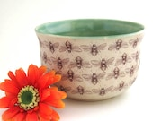 Ceramic Planter with Bees Motif - Handmade Stoneware Pottery - Ready to Ship