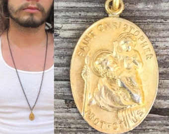 Saint Medal Necklace *BULK DISCOUNT* Vintage Catholic medal, patron saint of Travelers St Christopher gold brass chain Necklace religiousk21