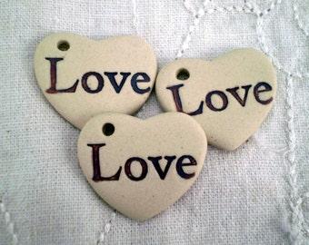 3 Love Heart Beads, Loose Beads, Inspirational Beads, Hippie Beads, Boho Beads, Gypsy Beads
