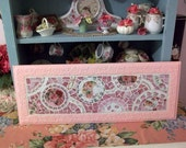 Pretty Pink Rose China Mosaic Wall Hanging Perfectly Shabby