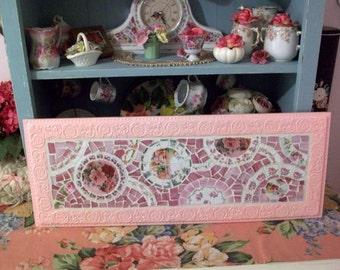 Pretty Pink Rose China Mosaic Wall Hanging Perfectly Shabby
