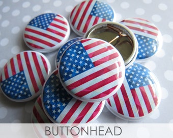 10 American Flag Pins - Labor Day Flag Pins - Bulk Pinback Buttons
