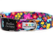 Engraved Floral Dog Collar, Personalized Dog Collar - Forget me not