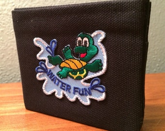 Water Fun turtle - handmade black canvas lightweight sturdy wallet